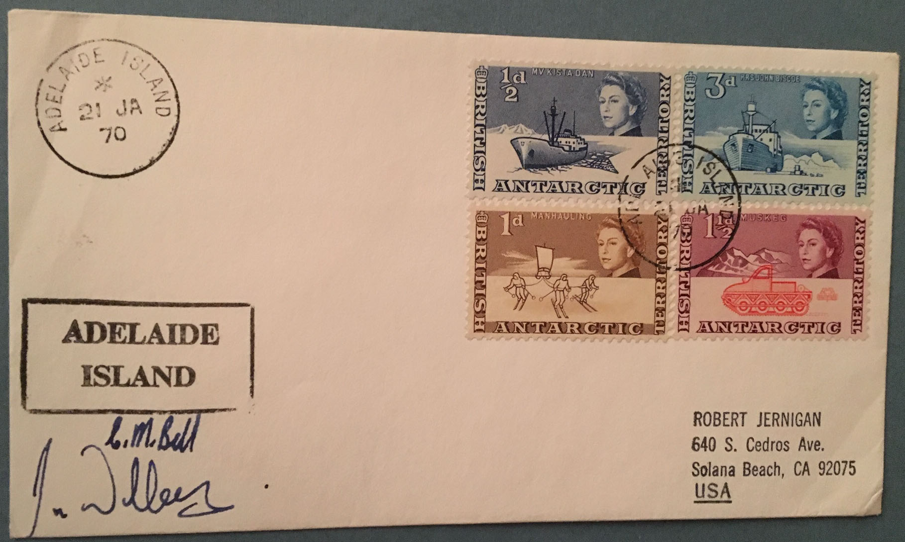 BAT 1970 ADELAIDE ISLAND SIGNED cover