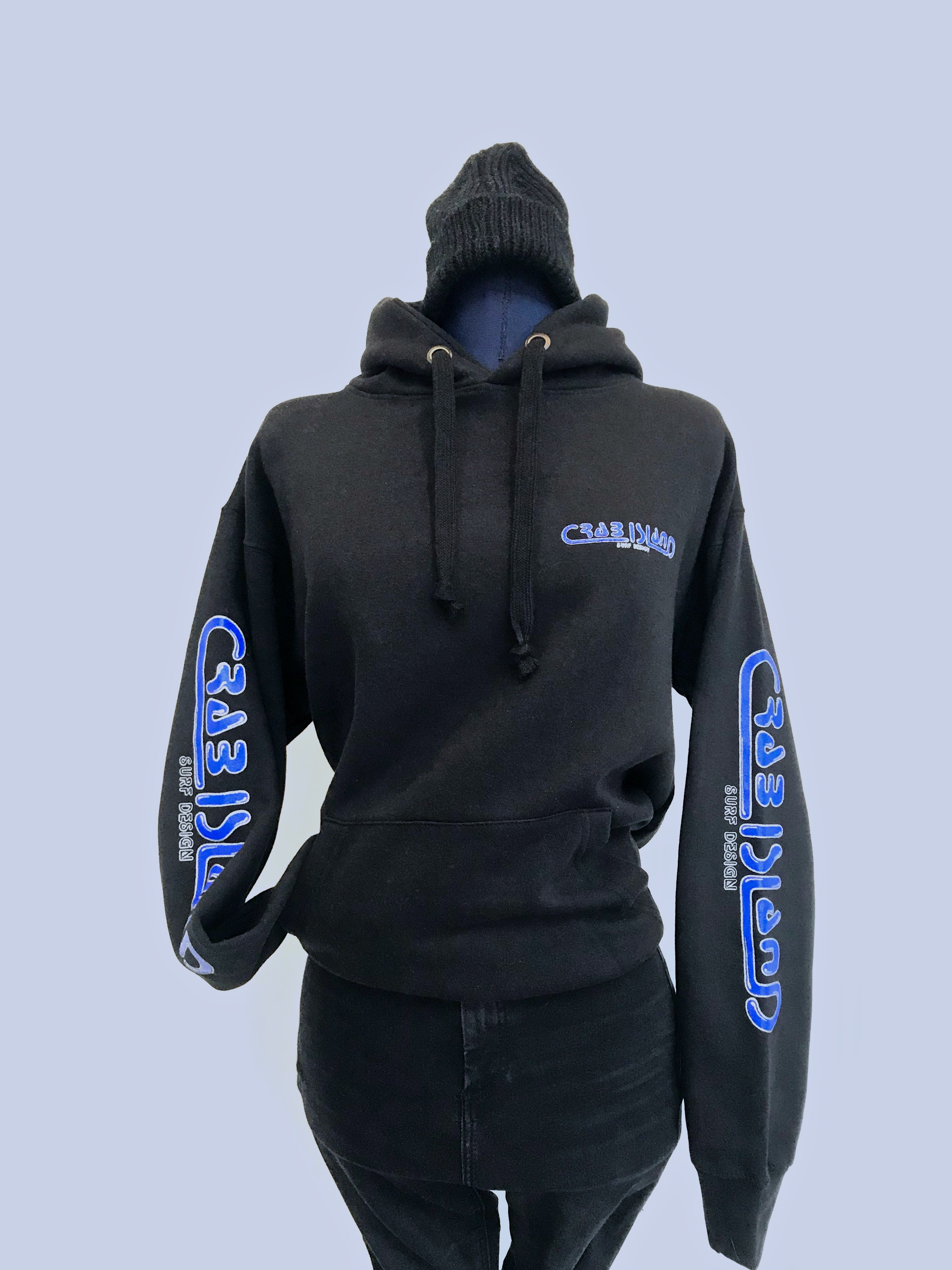 Black hoodie with Crab Island Surf Designs logo