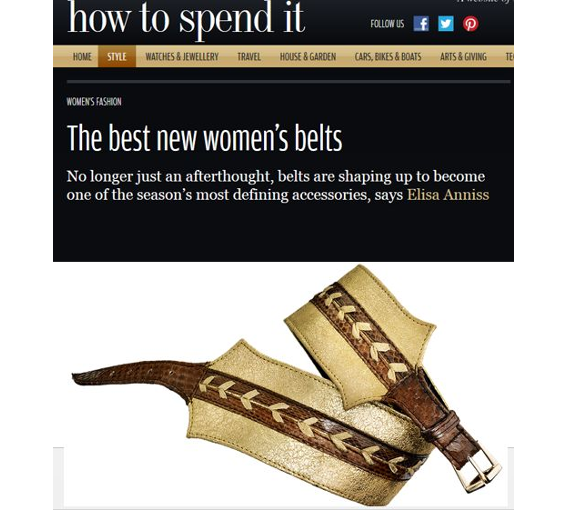 how to spend it Financial Times  JLYNCH luxury belts handmade sustainable leather accessories london british design fashion