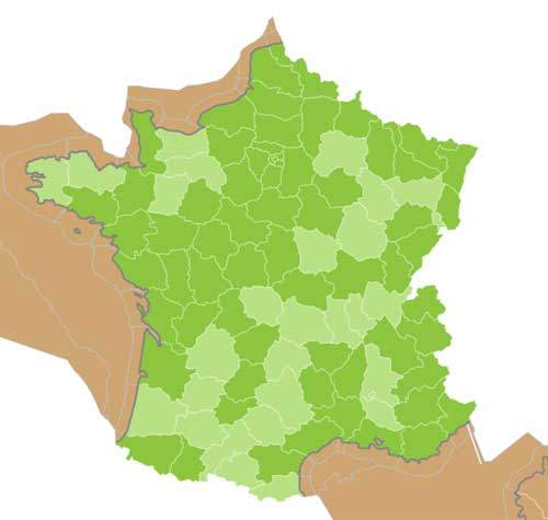 Map Marsh Frog in France