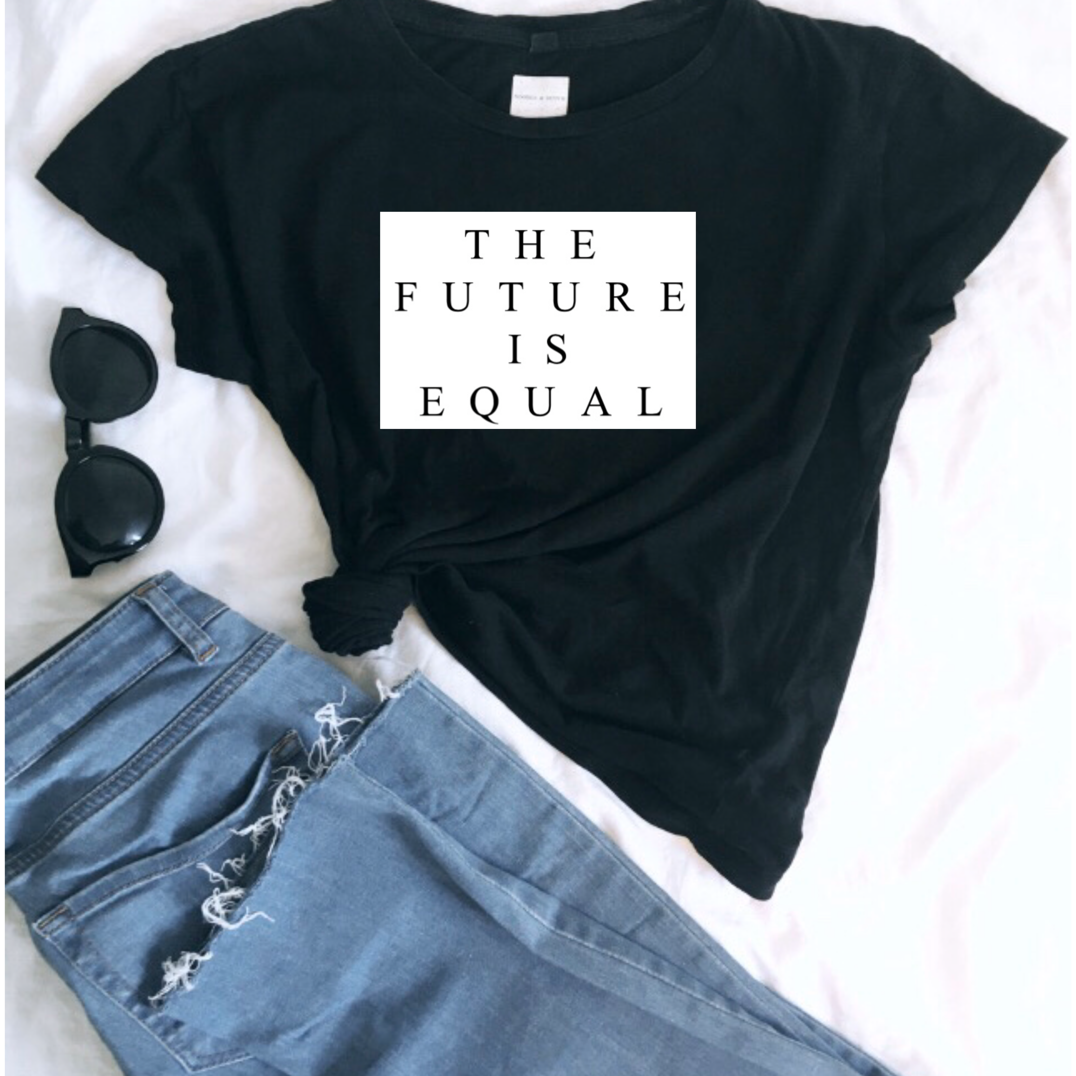 'THE FUTURE IS EQUAL' Ladies Organic Slogan Tee