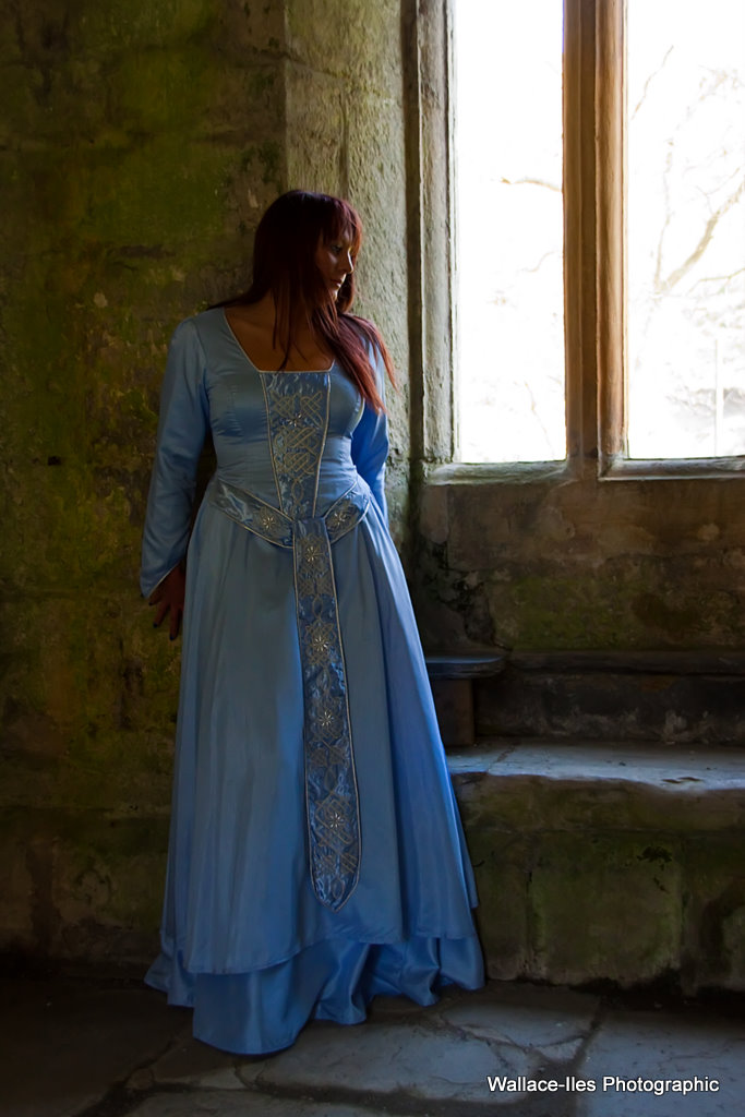 Light blue matt gown with silver celtic knot and pearl beadwork