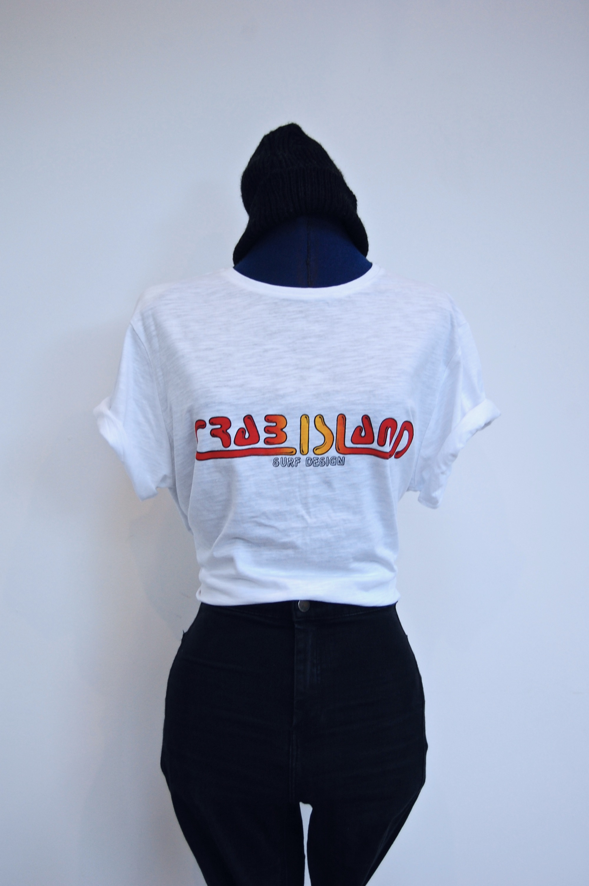 White T-shirt with Crab Island Surf Design logo