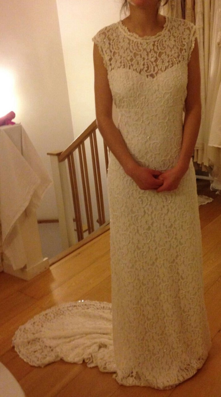 Long lace wedding dresses which twinkles in the light