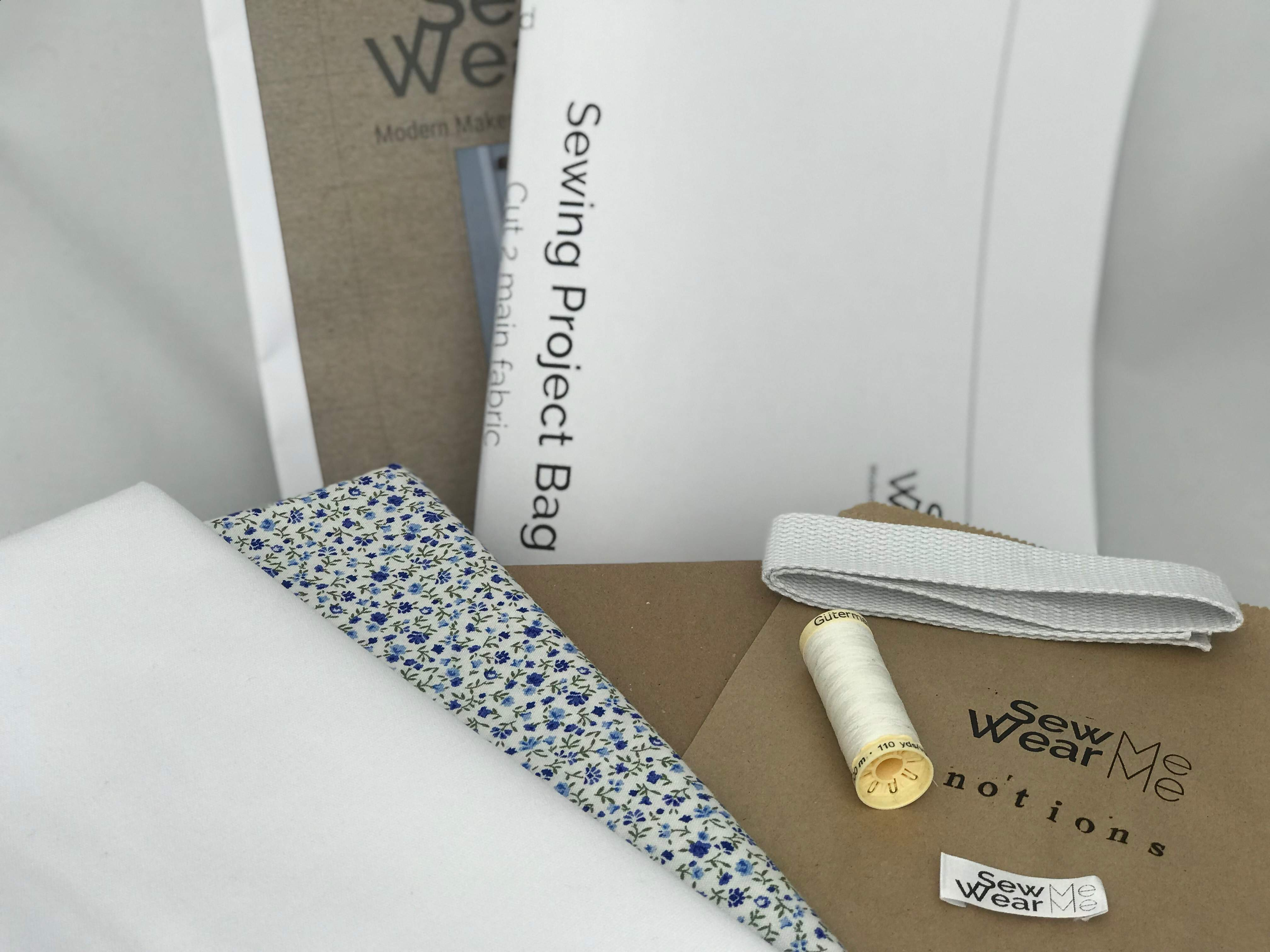Sewing Project Bag kit - white