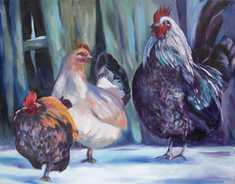 chickens, hens, oil painting chickens in the snow