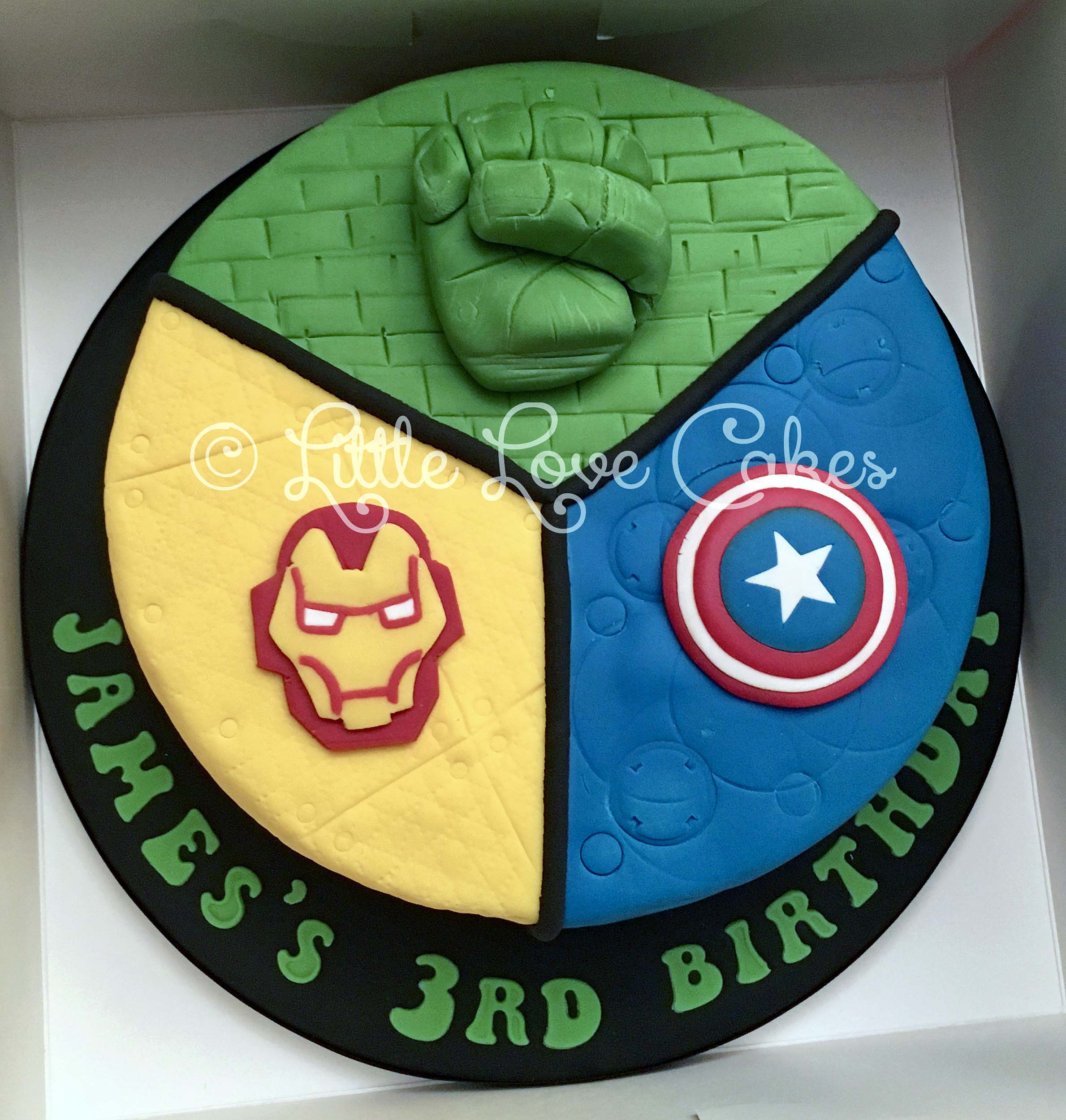 Avengers cake - Hulk, Captain America & Iron Man