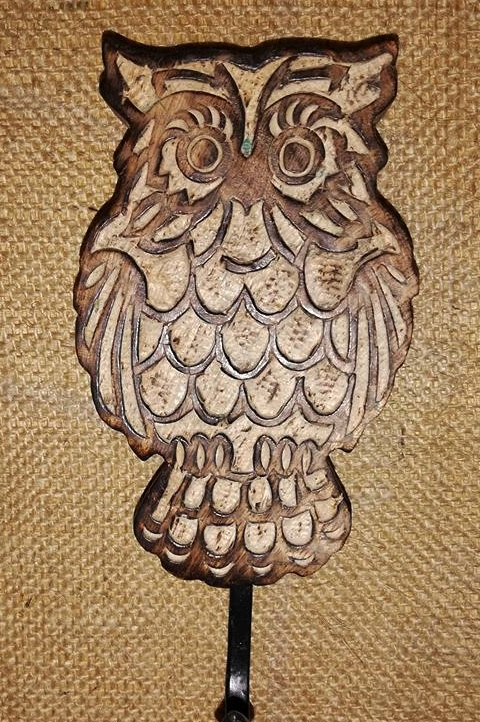 Wooden Owl Hook