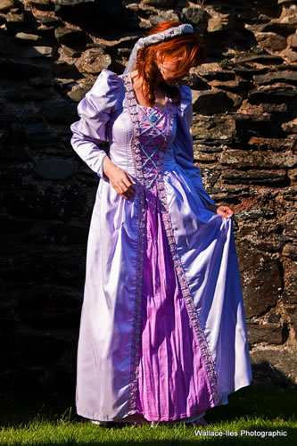Lilac medieval gown with raw silk front panel