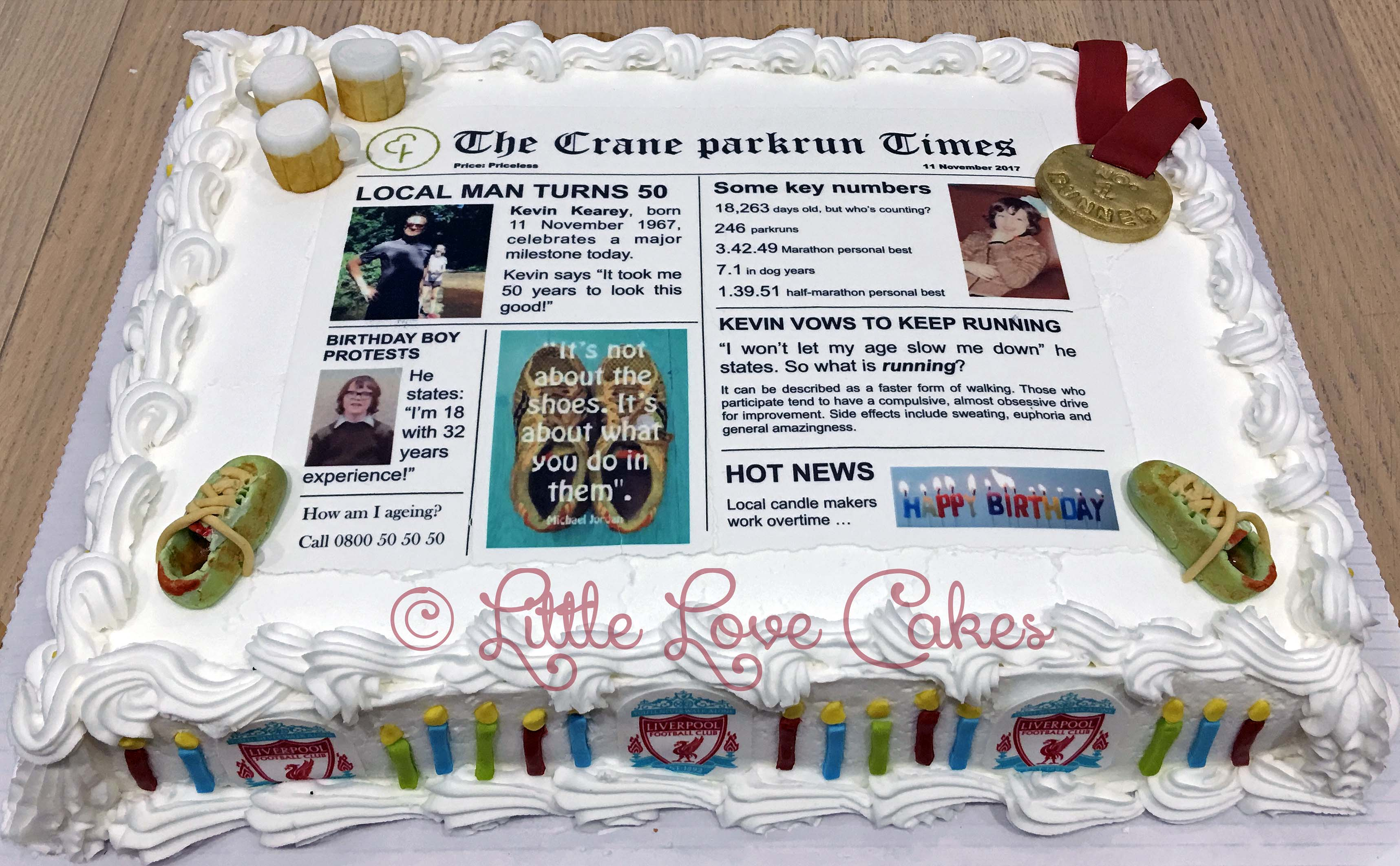 Newspaper 50th birthday cake