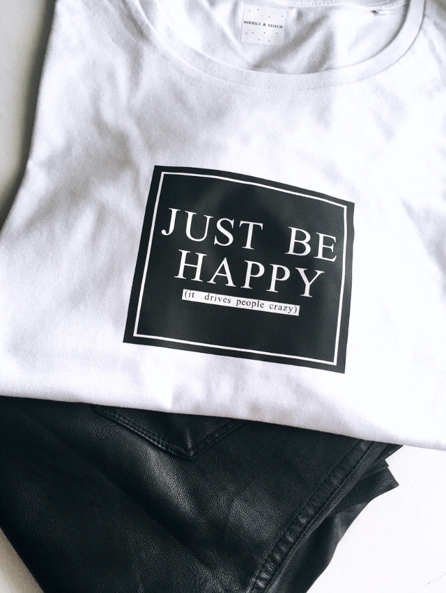'Just Be Happy (It drives people crazy)' Ladies Organic Slogan Tee