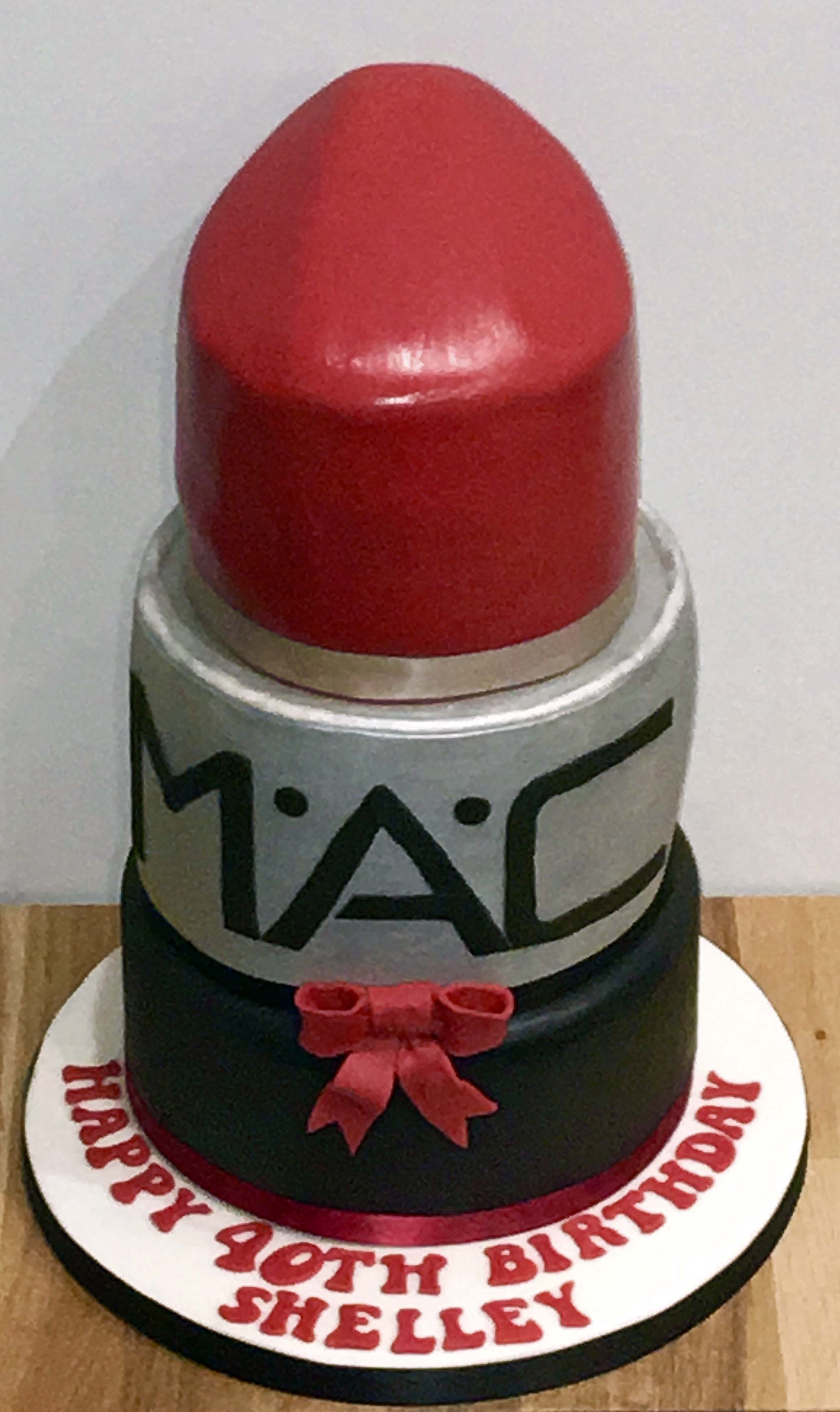 MAC red lipstick cake