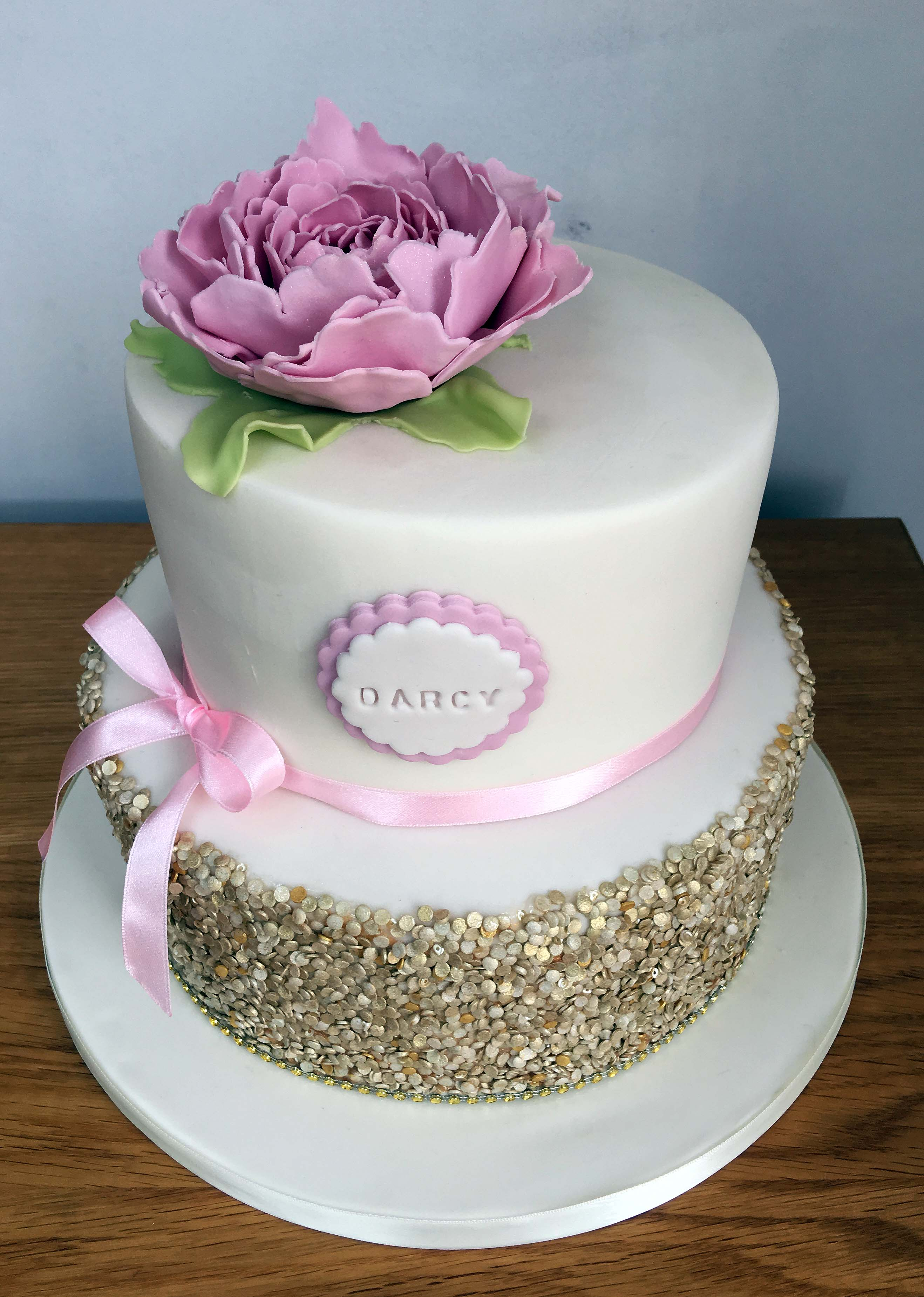 Peony and gold sequin christening cake