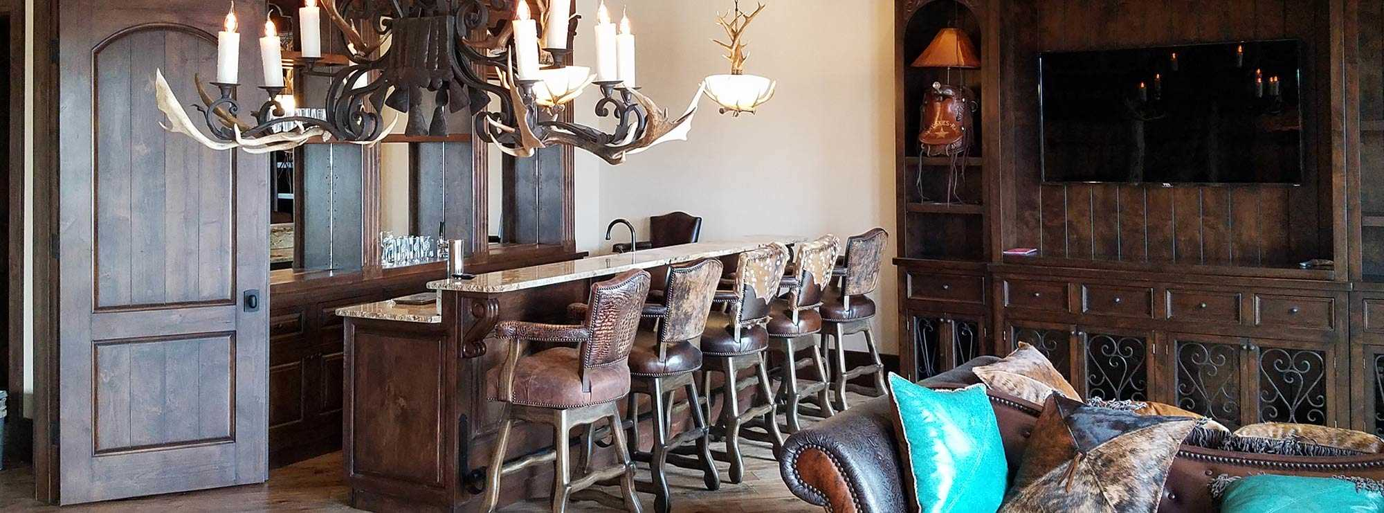 Catrina's Interiors designed and manufactured this stunning Ranch House bar area
