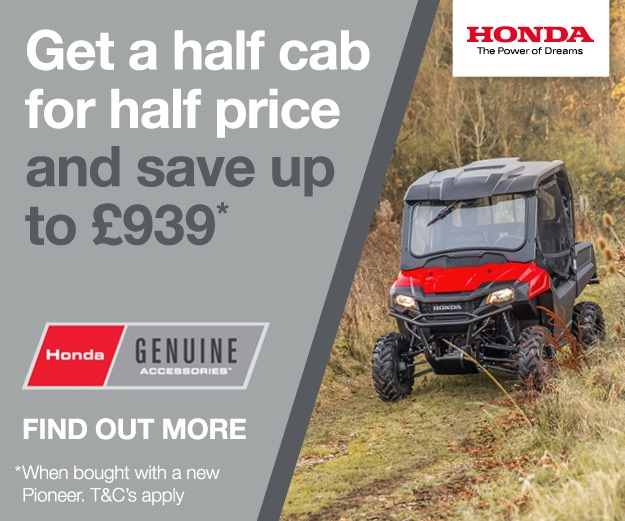 Advert for the half cab for half price offer running at Paterson ATV Dalbeattie in winter 2018