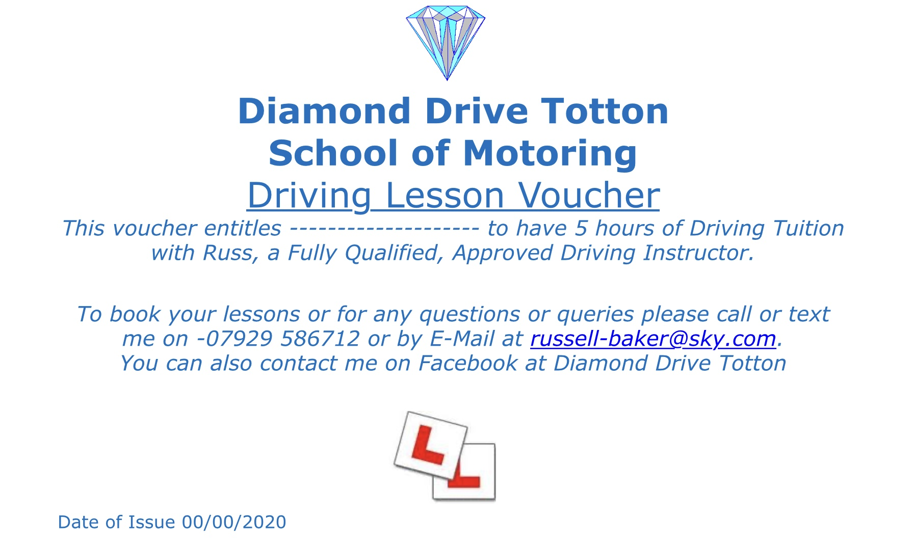 5 hour block of driving lessons