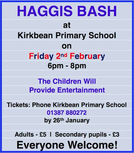Poster for the 2018 Haggis Bash at Kirkbean Primary School
