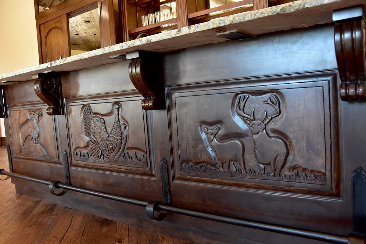 Bar detail of fine hand carvings