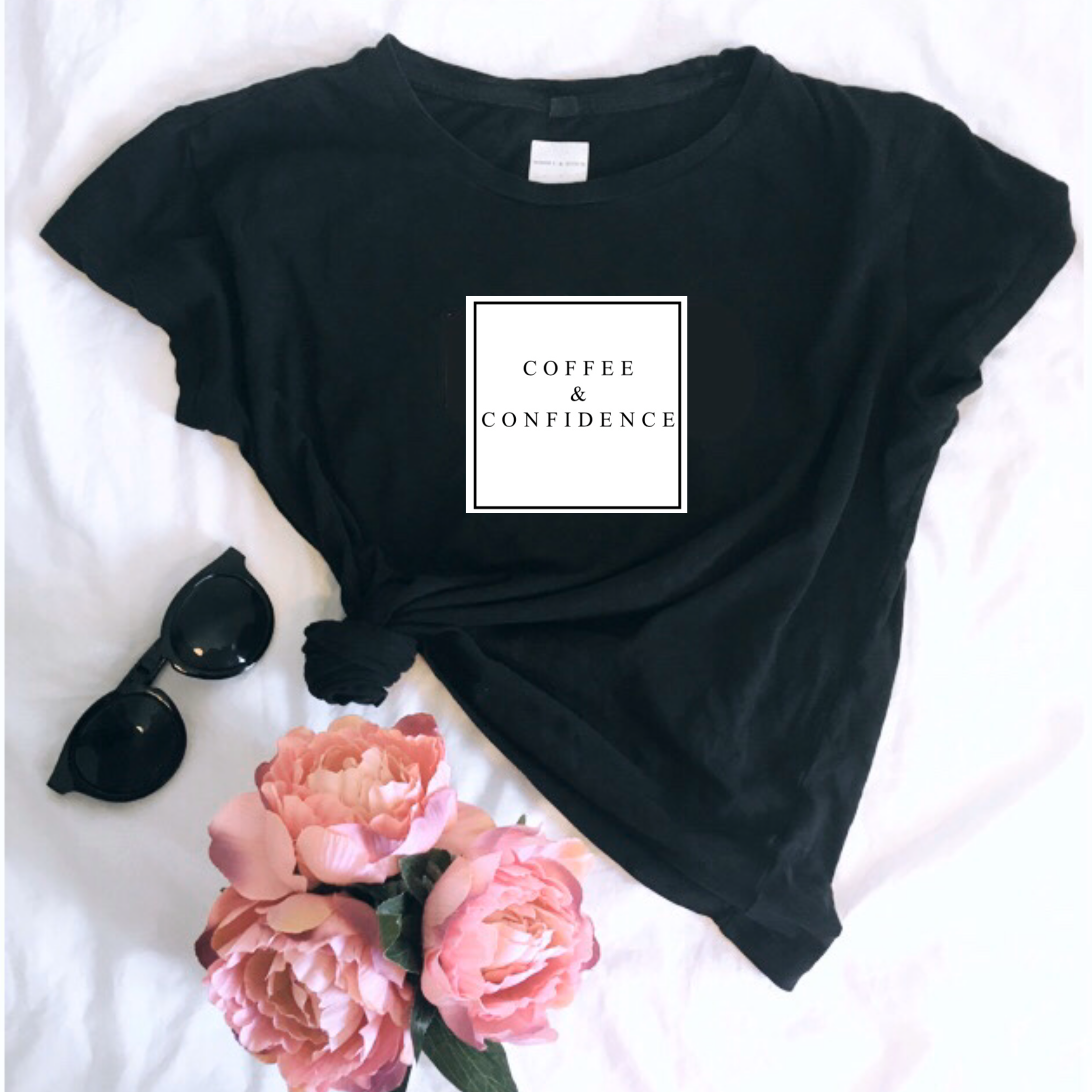 'COFFEE & CONFIDENCE' Ladies Organic Slogan Tee