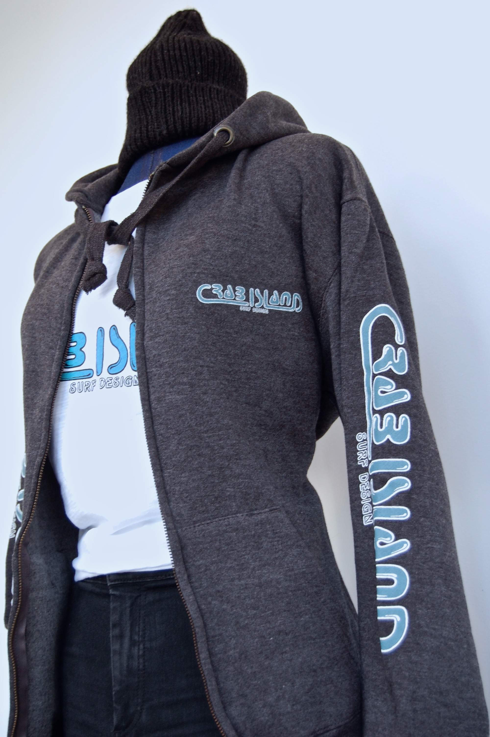 Grey zipped hoodie with Crab Island Surf Design logo