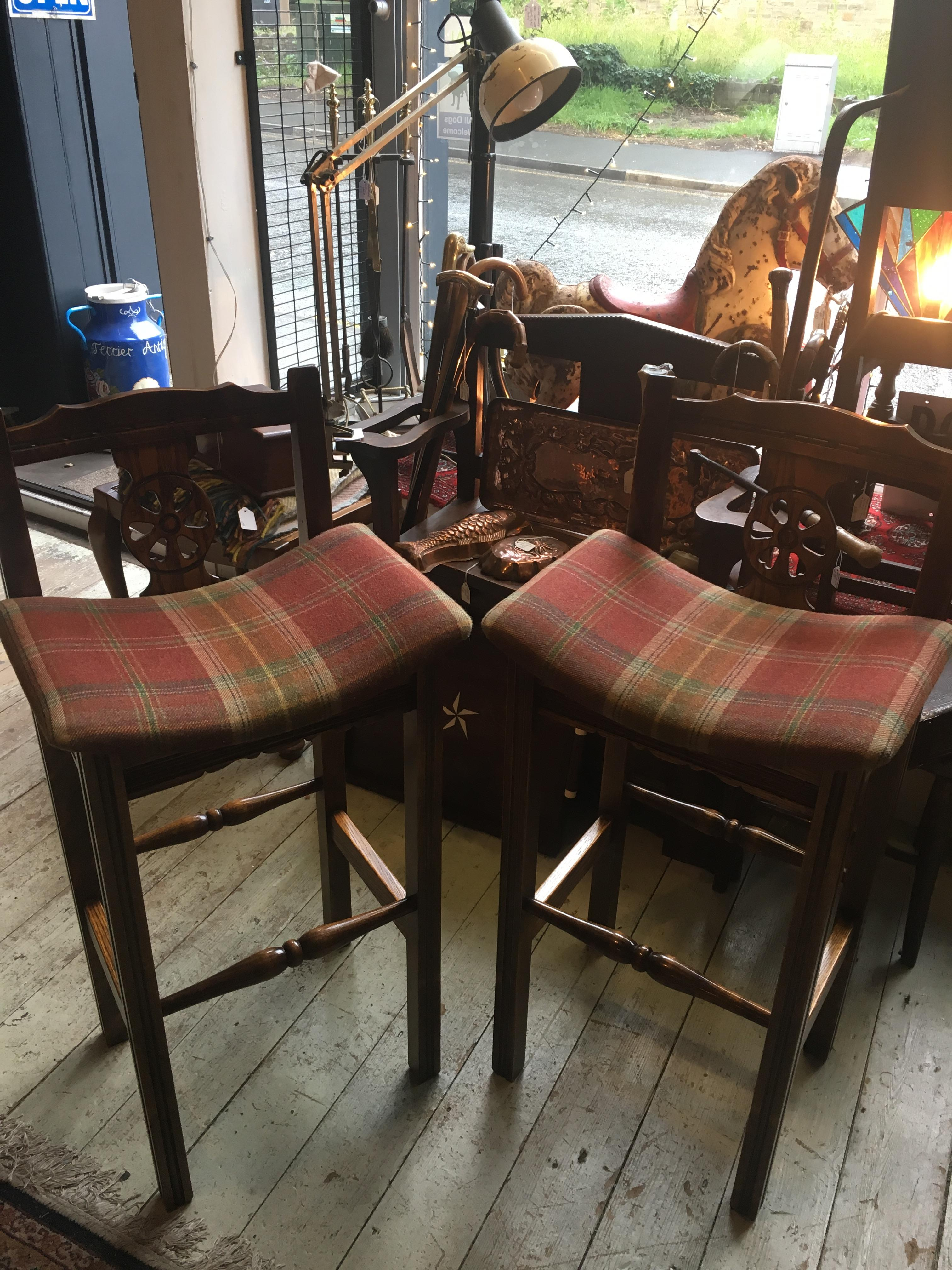 Pair Of Upholstered Bar Stools