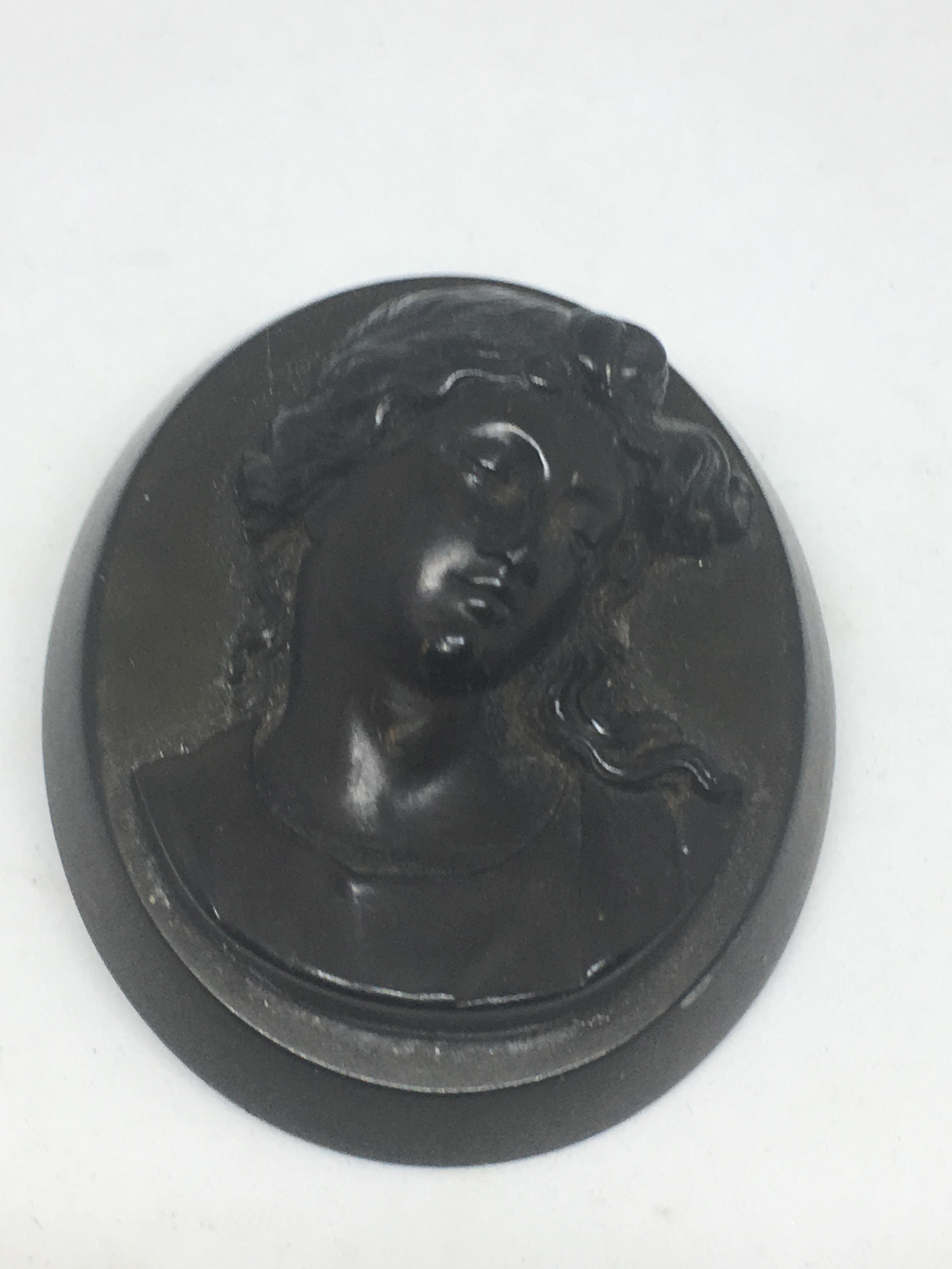Whitby Jet Cameo Brooch
