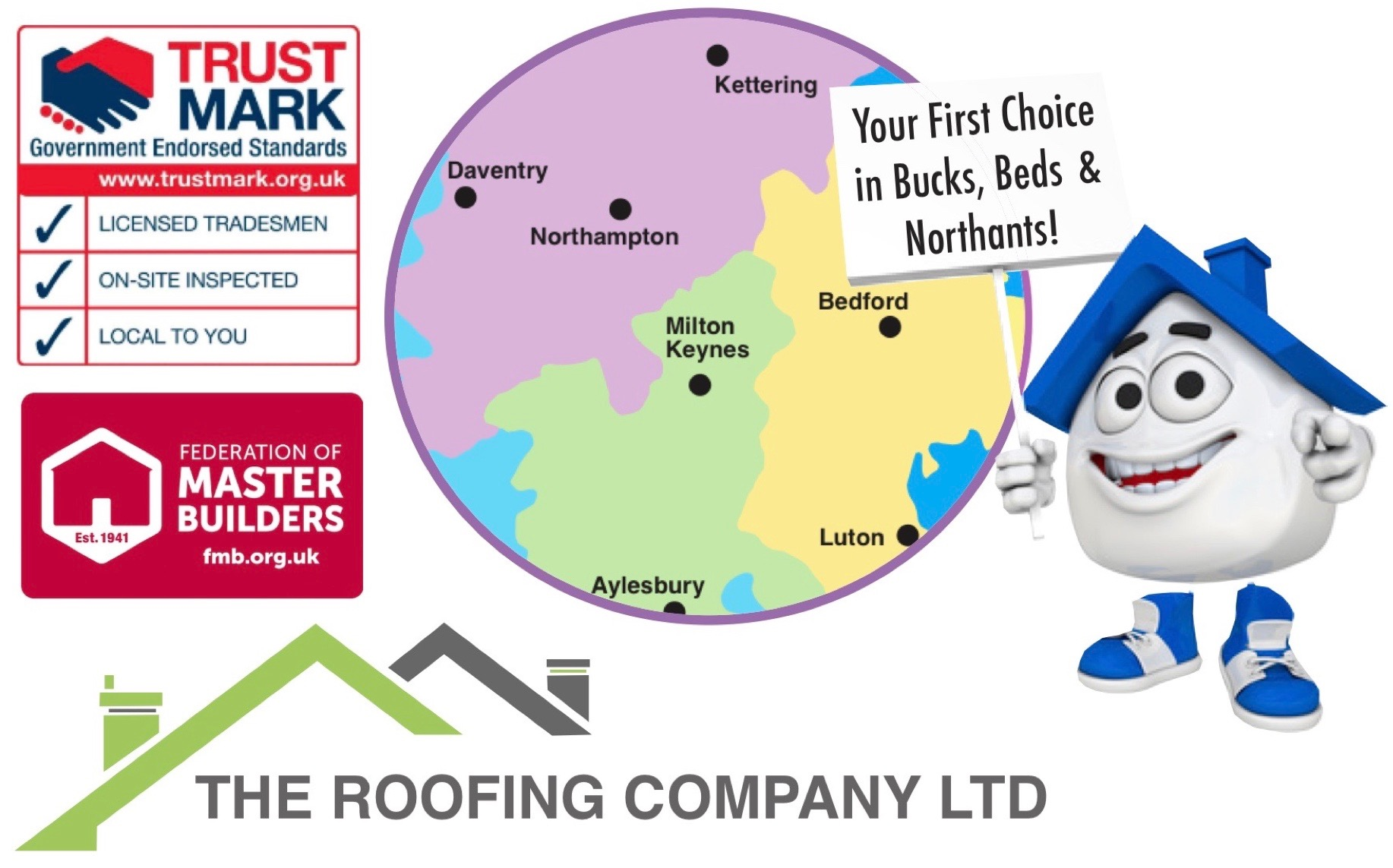 The Roofing Company are professional and competitive roofers in milton keynes covering milton keynes, bletchley, wolverton, newport pagnell, buckingham, winslow, bedford, leighton buzzard, dunstable, luton, woburn, aylesbury, bicester, brackley, towcester, daventry, northampton and old stratford.