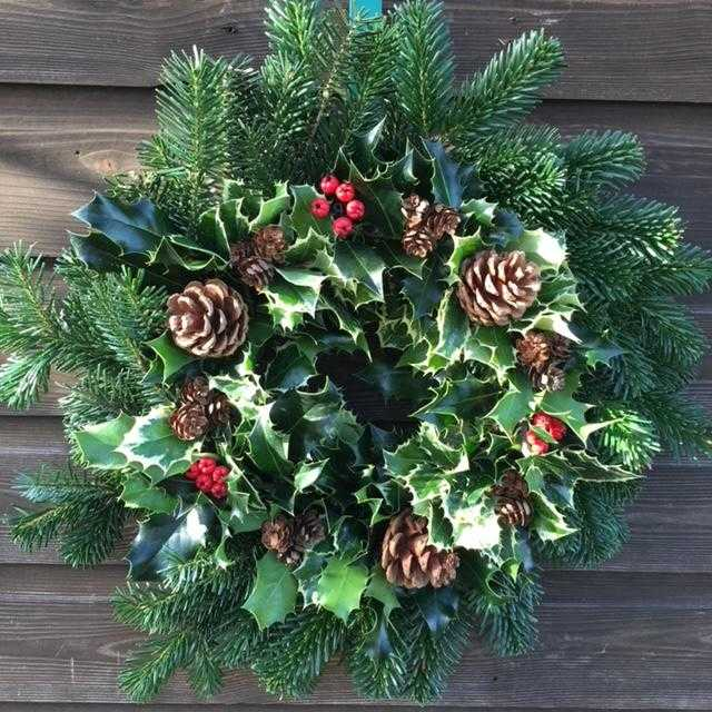 10 Inch decorated Holly & Fir wreath £30 inc P&P