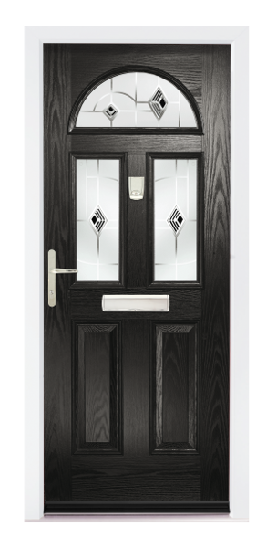 composite door in any standard colour, with clear or satin glass, chrome letterbox 150mm sill.