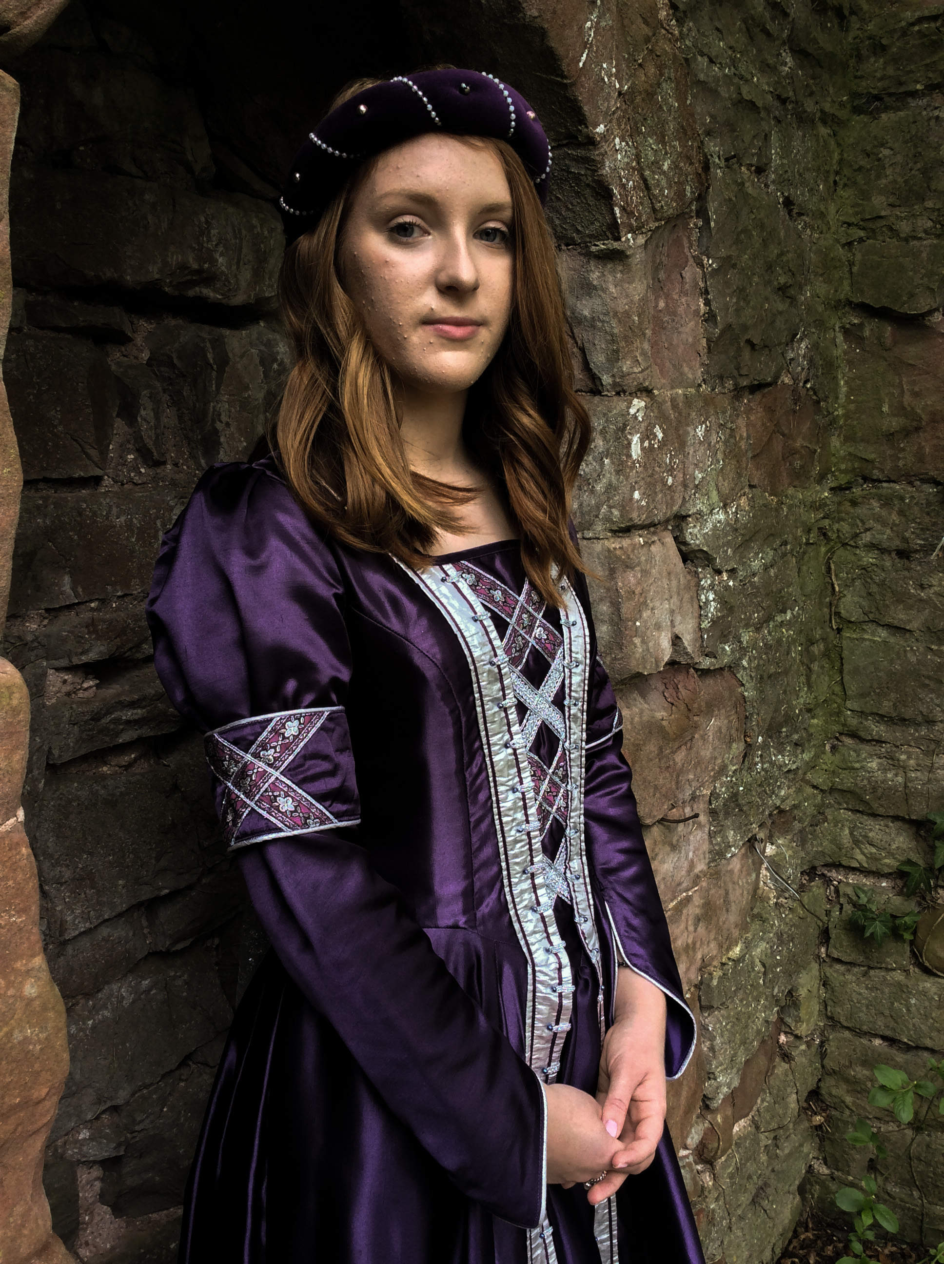 Purple lustre medieval gown with silver trimmings and silver beadwork