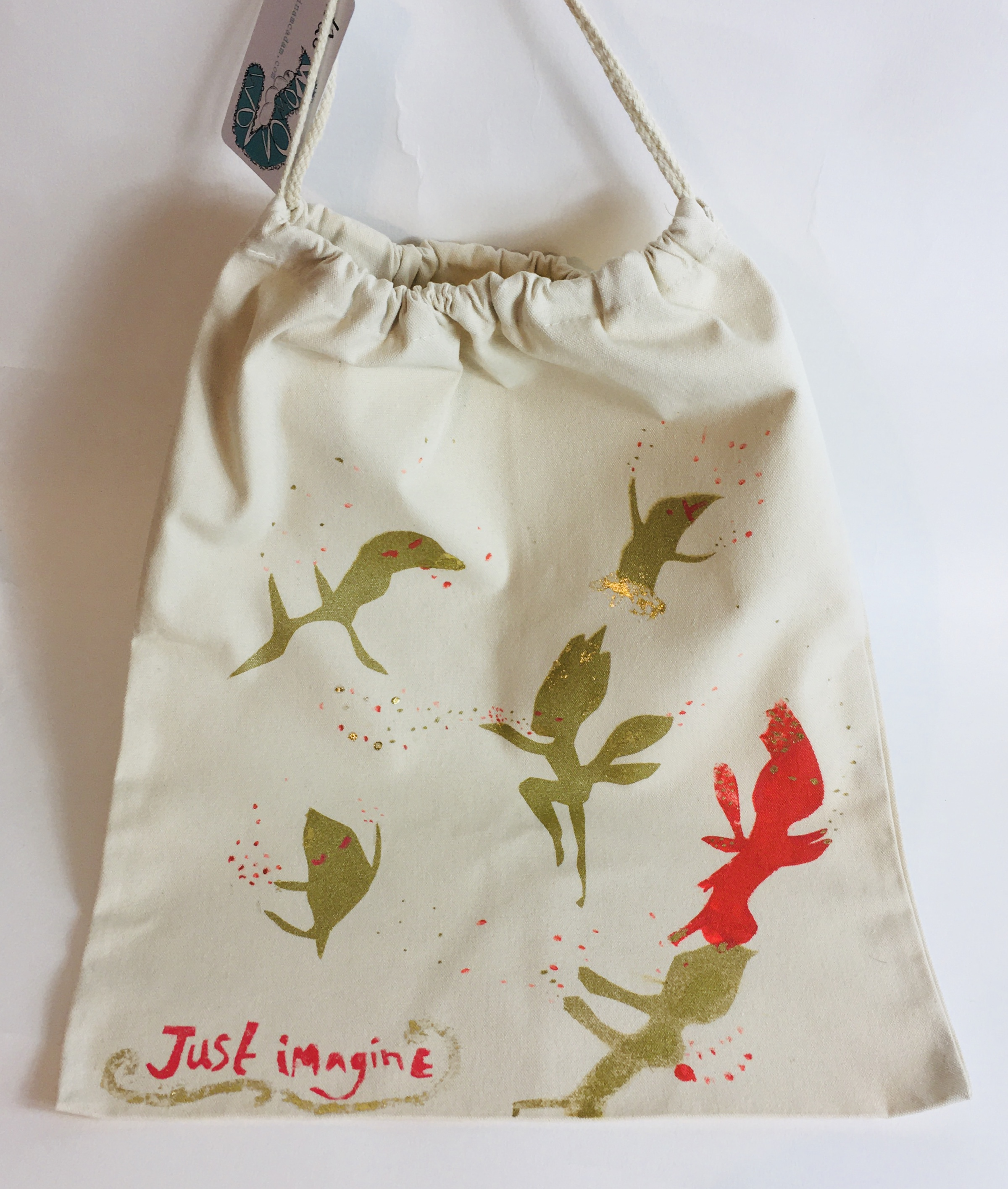 Just Imagine. Canvas cotton drawstring bag.