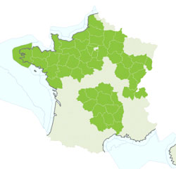 Common adder France distribution map