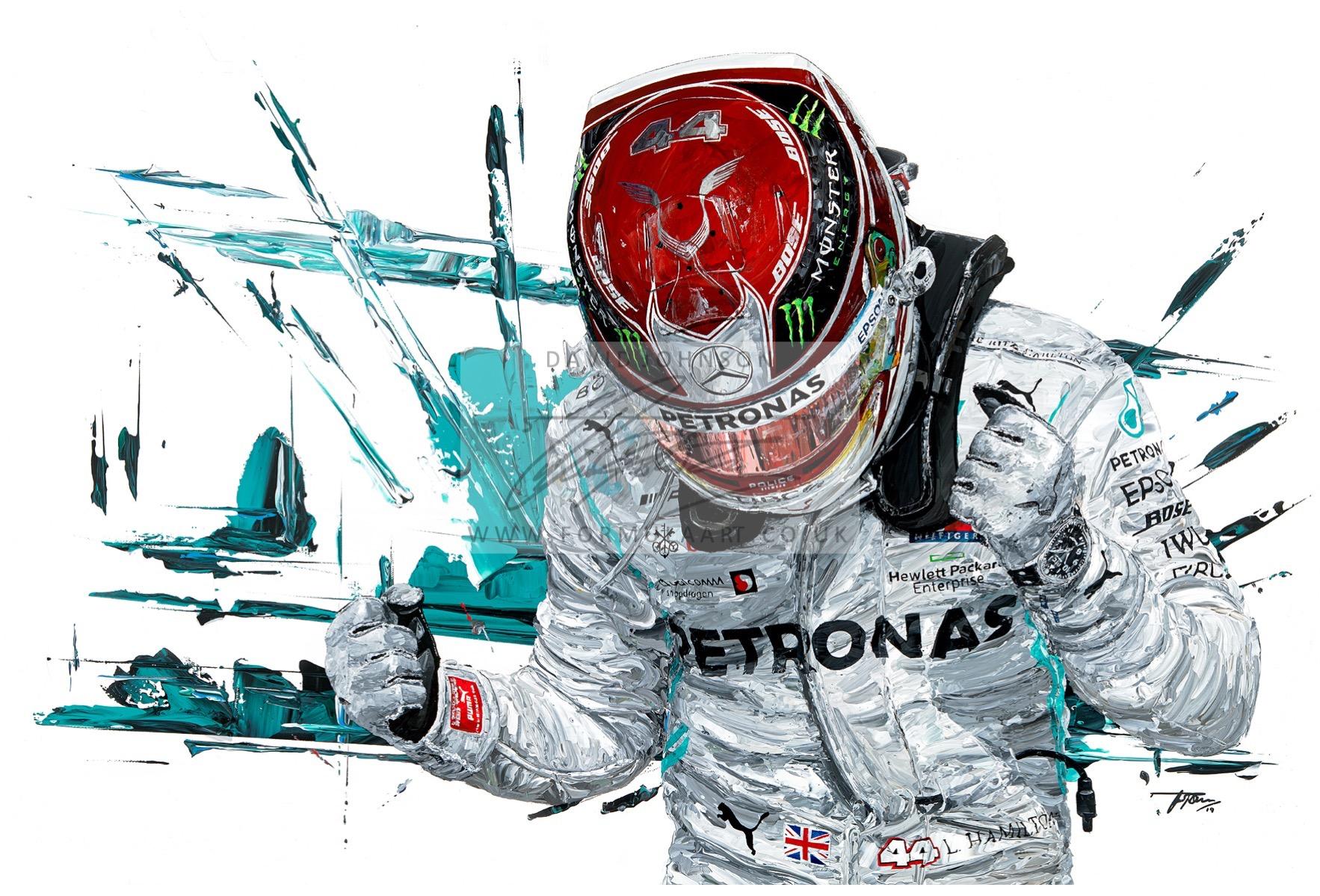 Lewis Hamilton 2019 F1 World Champion hand embellished