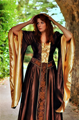 Chocolate brown medieval gown with dark cream highlights