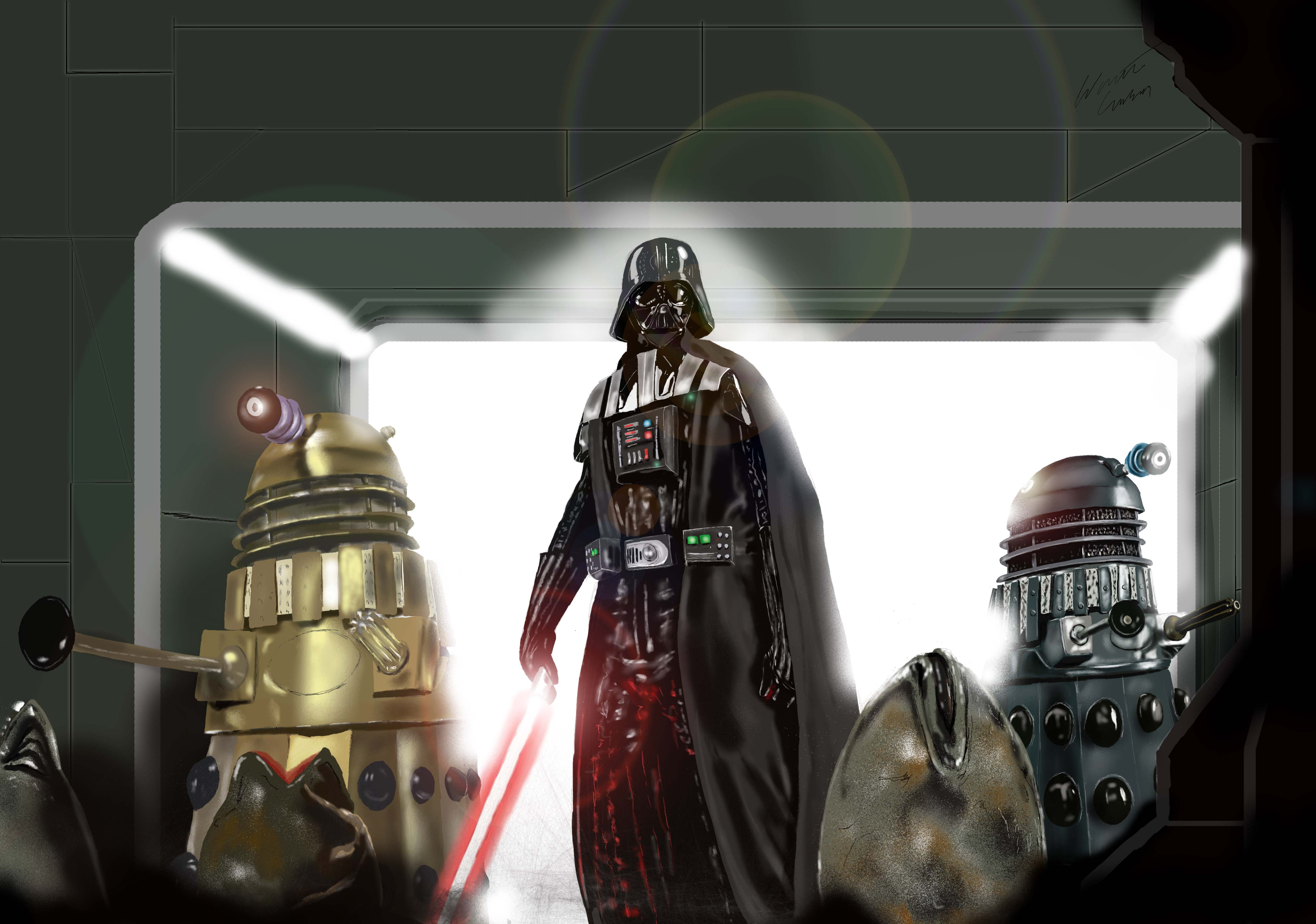 Darth Vader, Darlek, Darleks, Sci-fi. Sci-fi Illustrations, Sith. Star Wars, Doctor Who