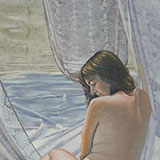 Female figure amidst drapes