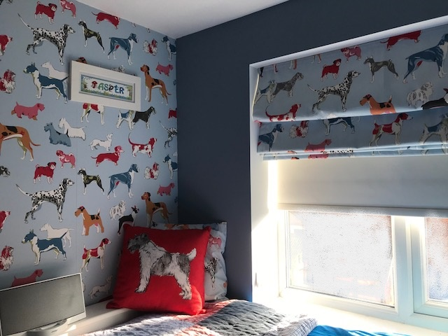 Roman Blind with Coordinating Wallpaper & Cushions