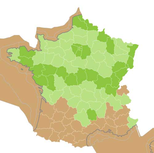 Map edible frog France