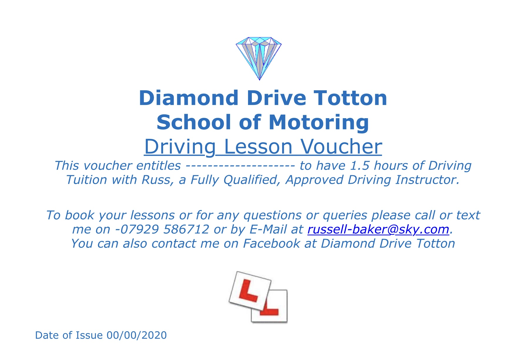 90 minute Driving Lesson Gift Voucher