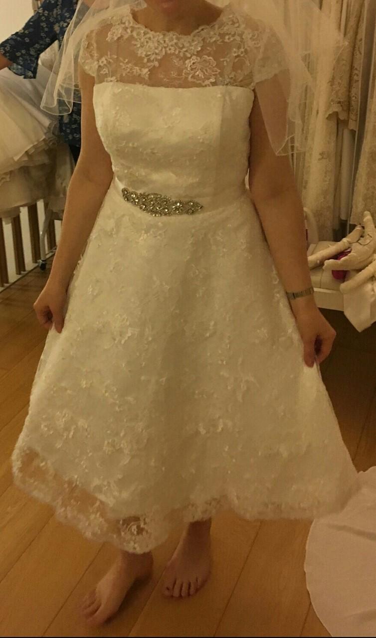 lace tea length wedding dress from Brighton Vintage Wedding Dresses