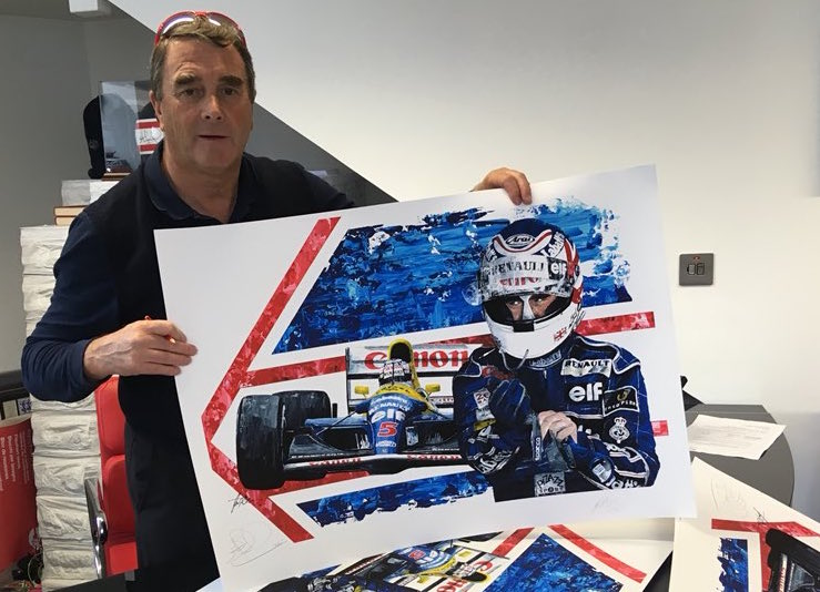 Nigel Mansell 1992 F1 World Champion Giclee- Driver Signed Edition