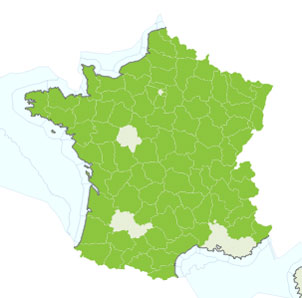 Common frog map France