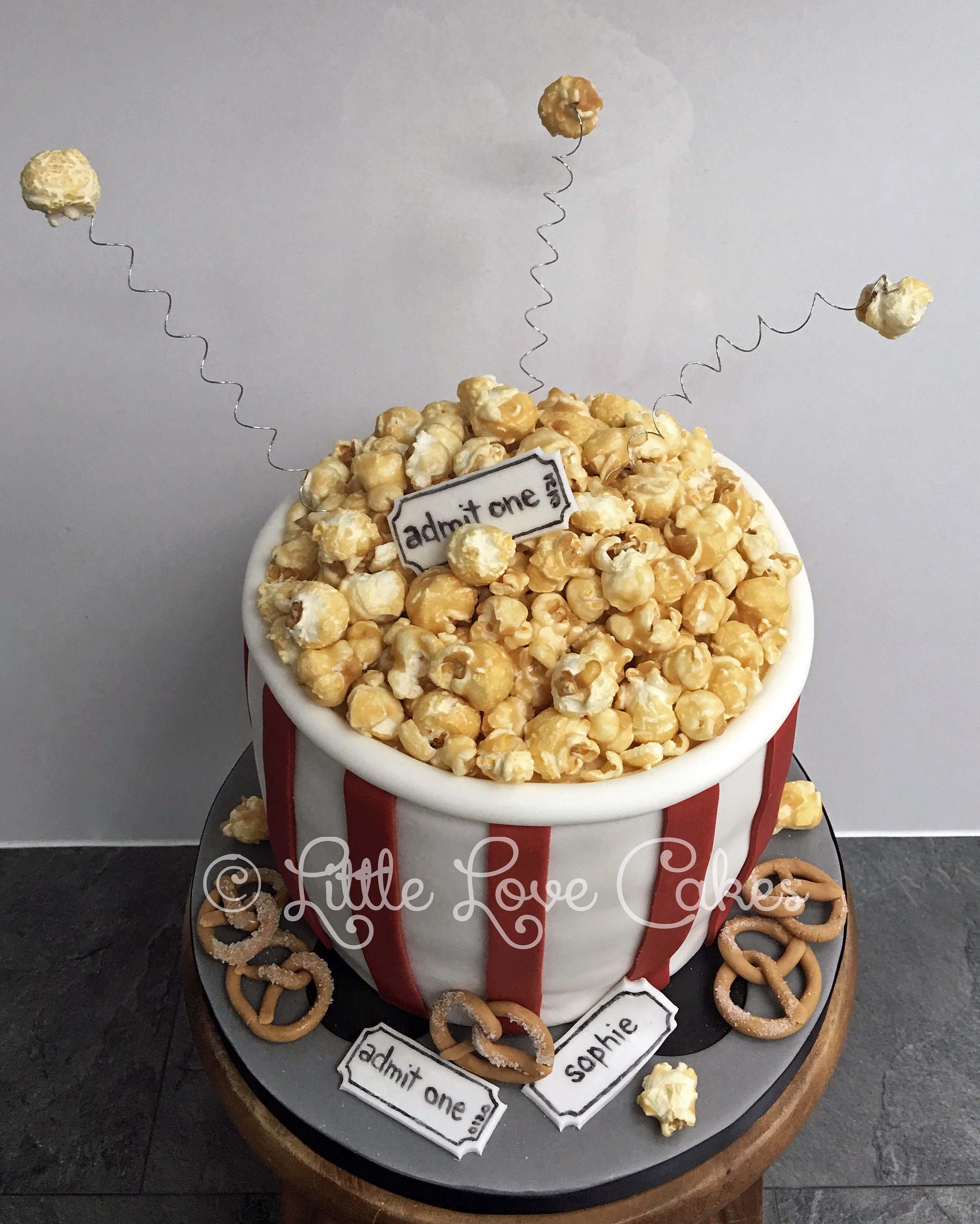 Popcorn movie night cake