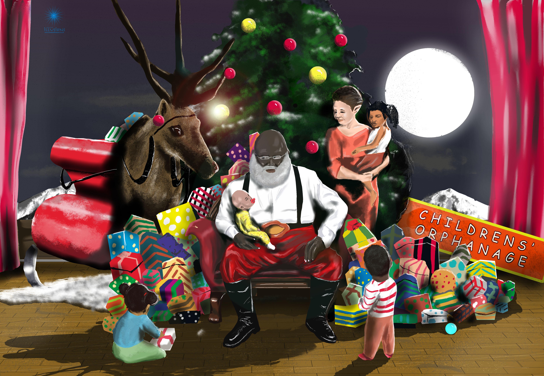 Father Christmas, Black Father Christmas, Christmas, Christmas illustration