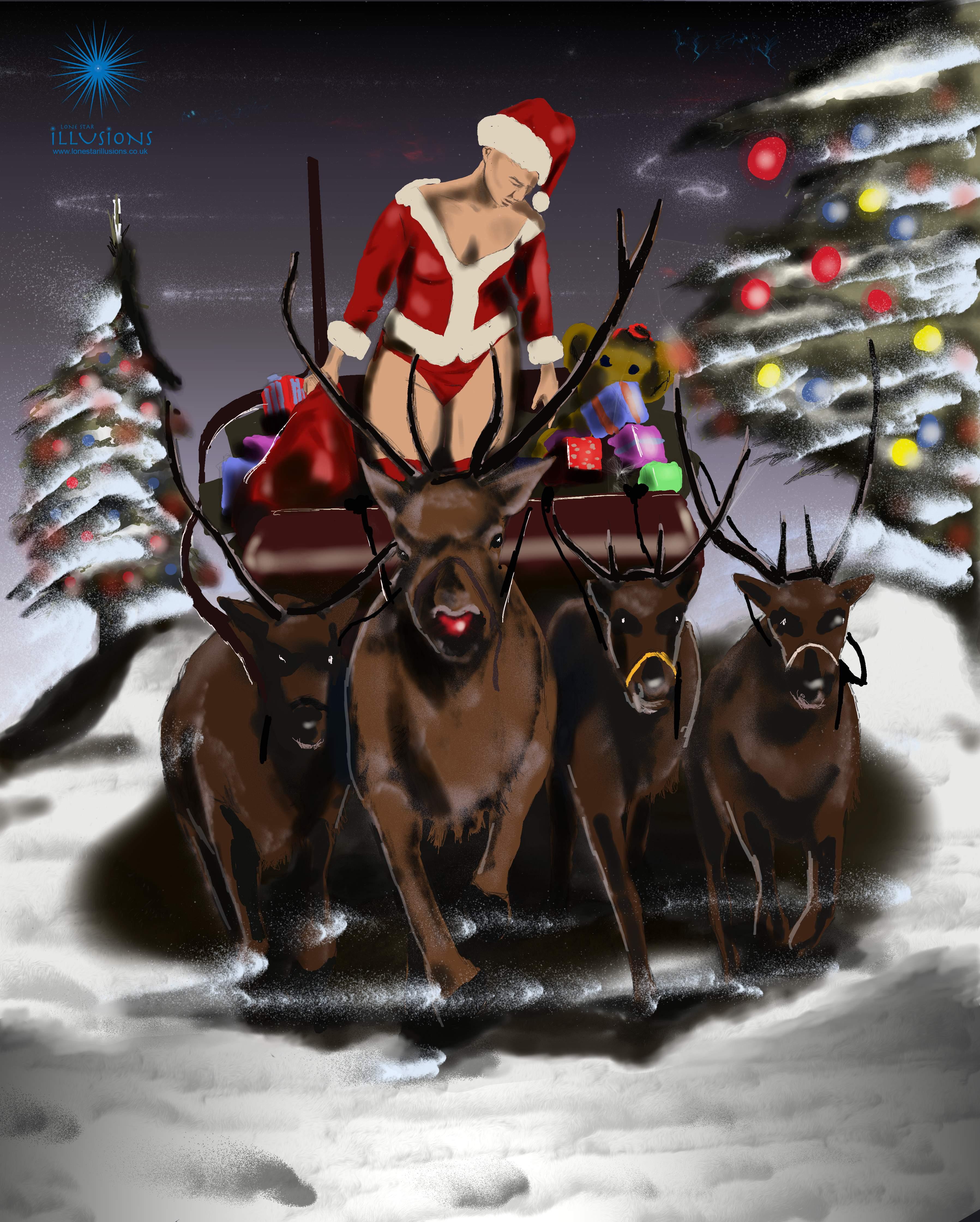 mrs christmas art, naughty christmas art, adult christmas illustration, porngraphic christmas illustrations, digital illustrations, rudolph the red nosed reindeer, mrs christmas illustration