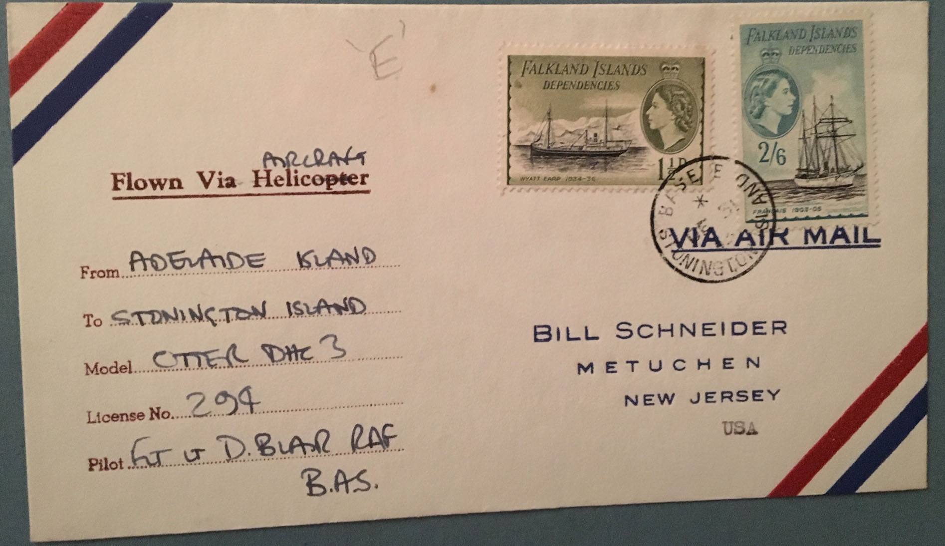 Falkland Dependency cover ships 1963 Otter Flight
