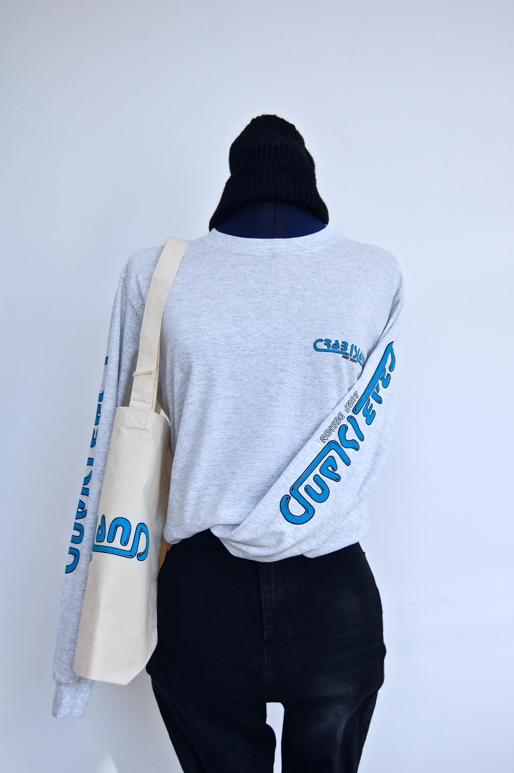 Light grey long sleeve T-shirt with Crab Island Surf Design logo