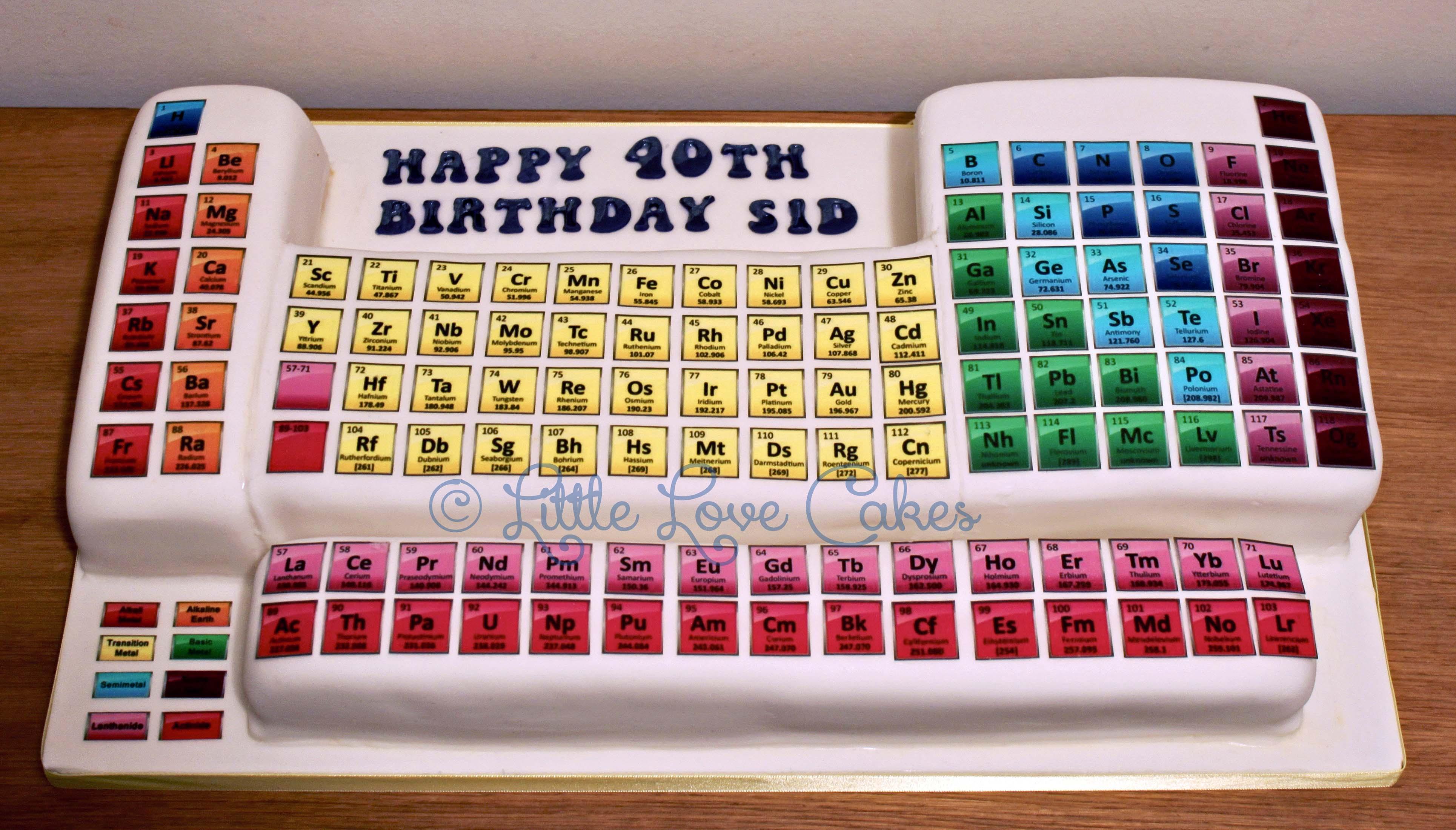 Gluten free periodic table cake
