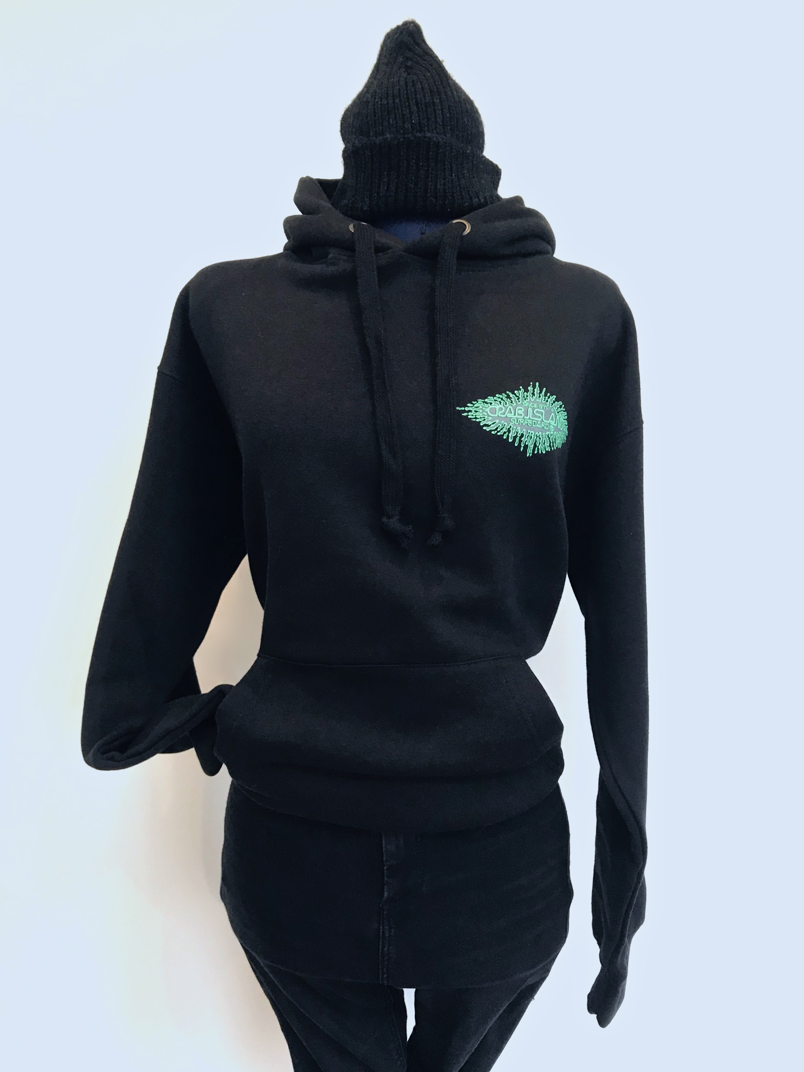 Black hoodie with Crab Island Splash logo