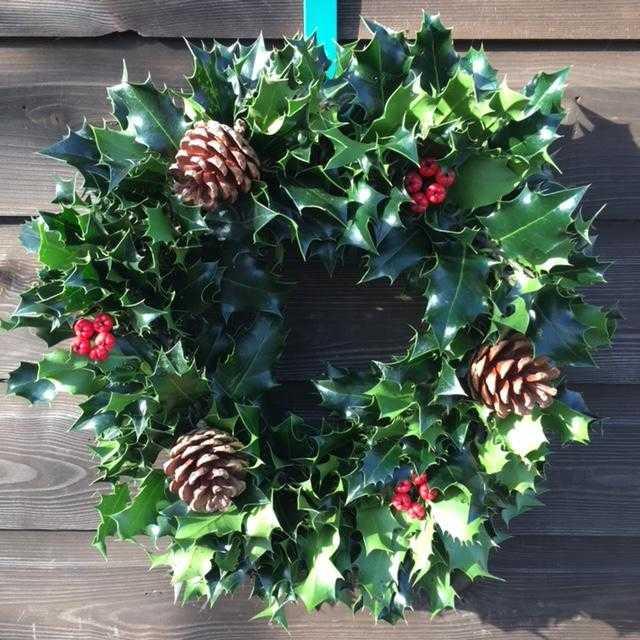 10 Inch decorated holly wreath £20 inc P&P